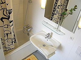 the bathroom with large bathtub